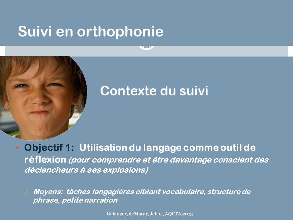 Suivi en orthophonie Objectif 1: Utilisation du langage comme outil de réflexion (pour comprendre et être davantage conscient des déclencheurs à ses e