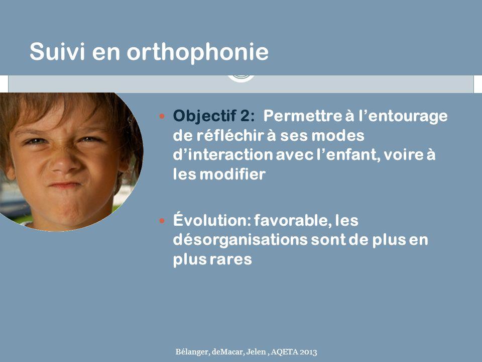 Suivi en orthophonie Objectif 2: Permettre à lentourage de réfléchir à ses modes dinteraction avec lenfant, voire à les modifier Évolution: favorable,