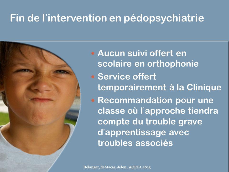 Fin de lintervention en pédopsychiatrie Aucun suivi offert en scolaire en orthophonie Service offert temporairement à la Clinique Recommandation pour