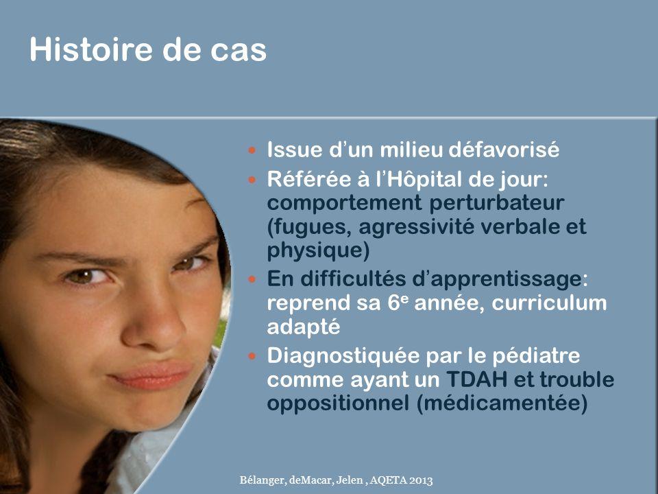 Histoire de cas Issue dun milieu défavorisé Référée à lHôpital de jour: comportement perturbateur (fugues, agressivité verbale et physique) En difficu