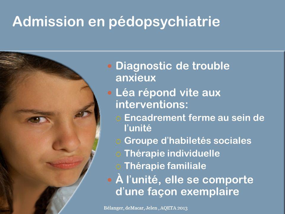 Admission en pédopsychiatrie Diagnostic de trouble anxieux Léa répond vite aux interventions: Encadrement ferme au sein de lunité Groupe dhabiletés so