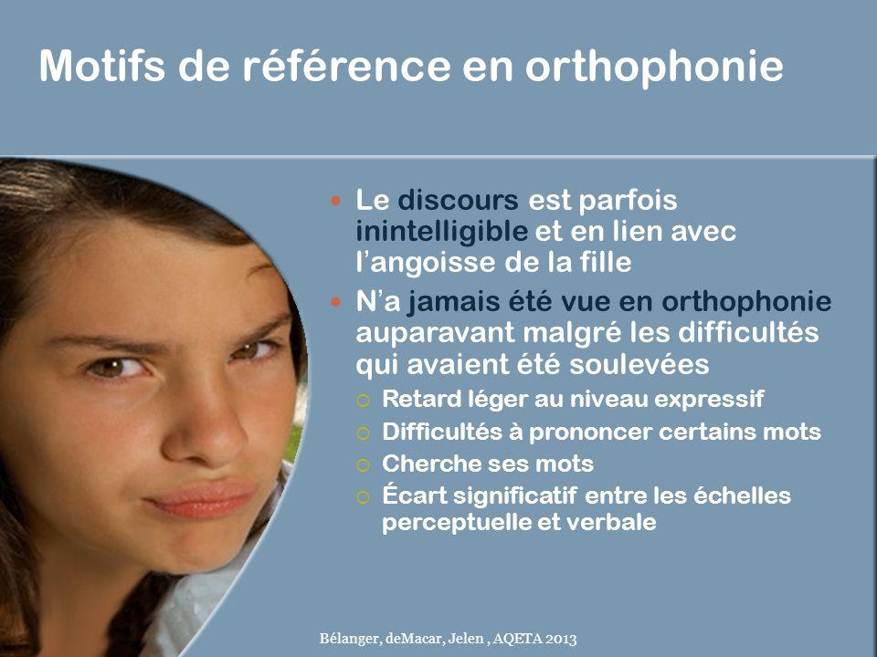 Motifs de référence en orthophonie Le discours est parfois inintelligible et en lien avec langoisse de la fille Na jamais été vue en orthophonie aupar