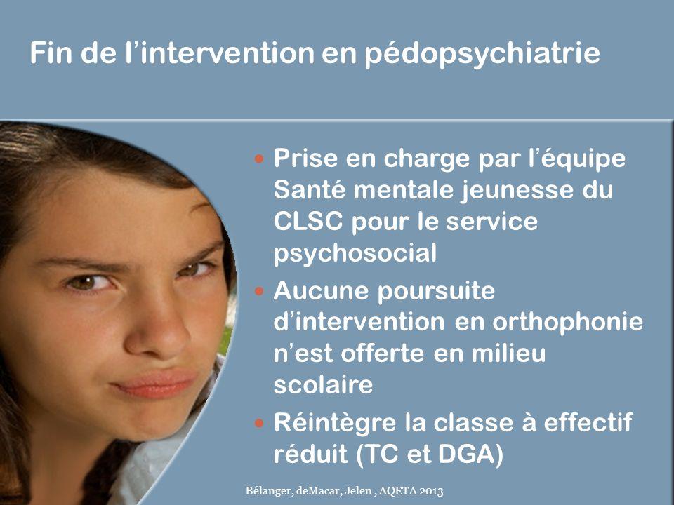 Fin de lintervention en pédopsychiatrie Prise en charge par léquipe Santé mentale jeunesse du CLSC pour le service psychosocial Aucune poursuite dinte