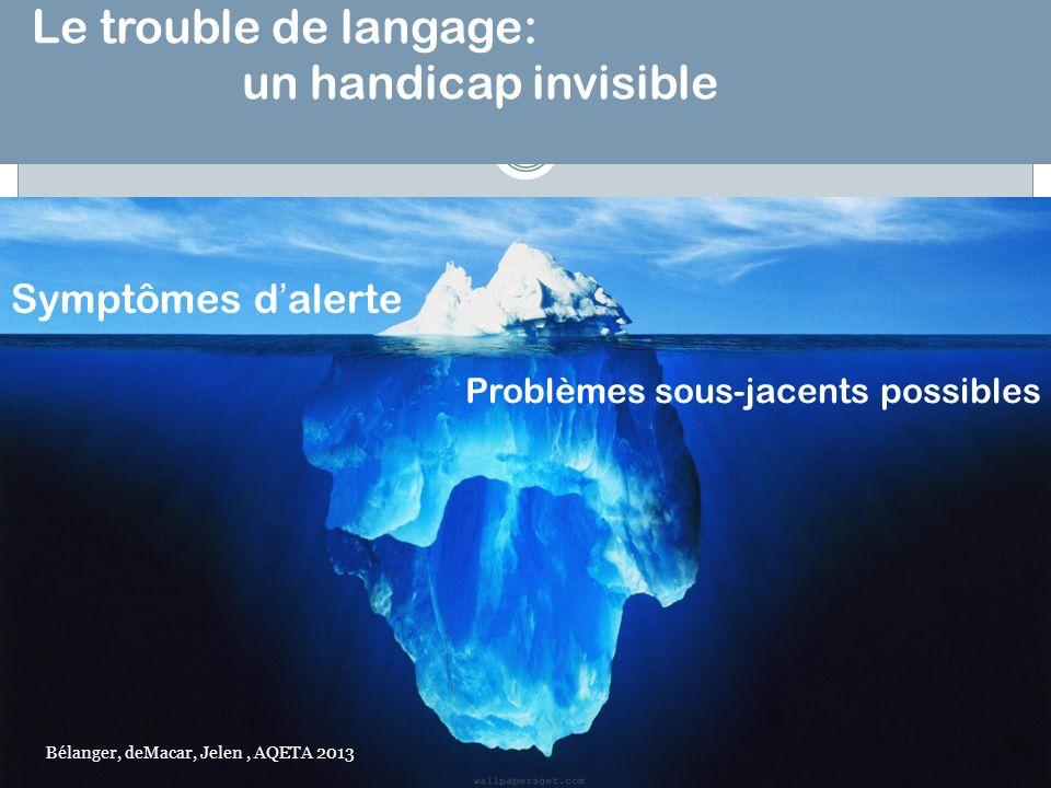 Le trouble de langage: un handicap invisible Symptômes dalerte Problèmes sous-jacents possibles Bélanger, deMacar, Jelen, AQETA 2013