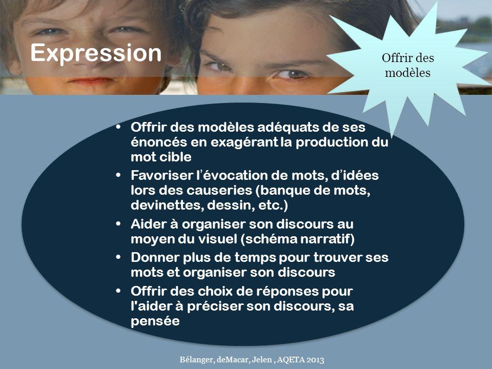 Expression Offrir des modèles adéquats de ses énoncés en exagérant la production du mot cible Favoriser lévocation de mots, didées lors des causeries