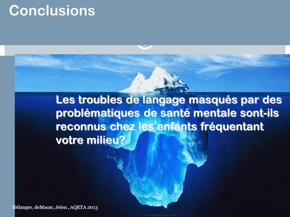 Conclusions Les troubles de langage masqués par des problématiques de santé mentale sont-ils reconnus chez les enfants fréquentant votre milieu? votre