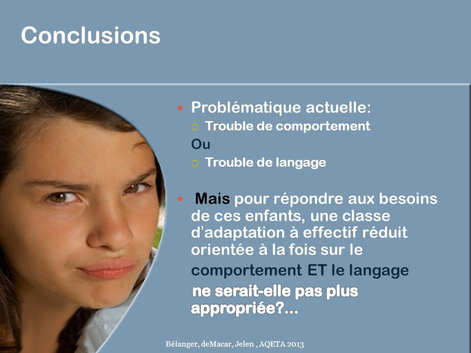 Conclusions Bélanger, deMacar, Jelen, AQETA 2013
