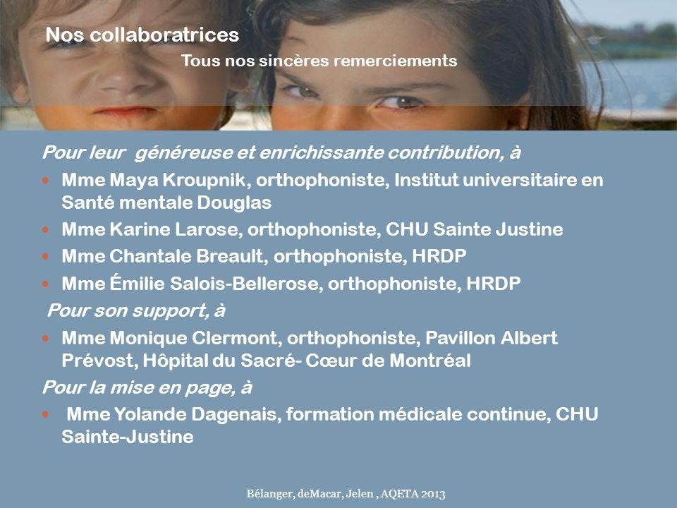 Nos collaboratrices Tous nos sincères remerciements Pour leur généreuse et enrichissante contribution, à Mme Maya Kroupnik, orthophoniste, Institut un