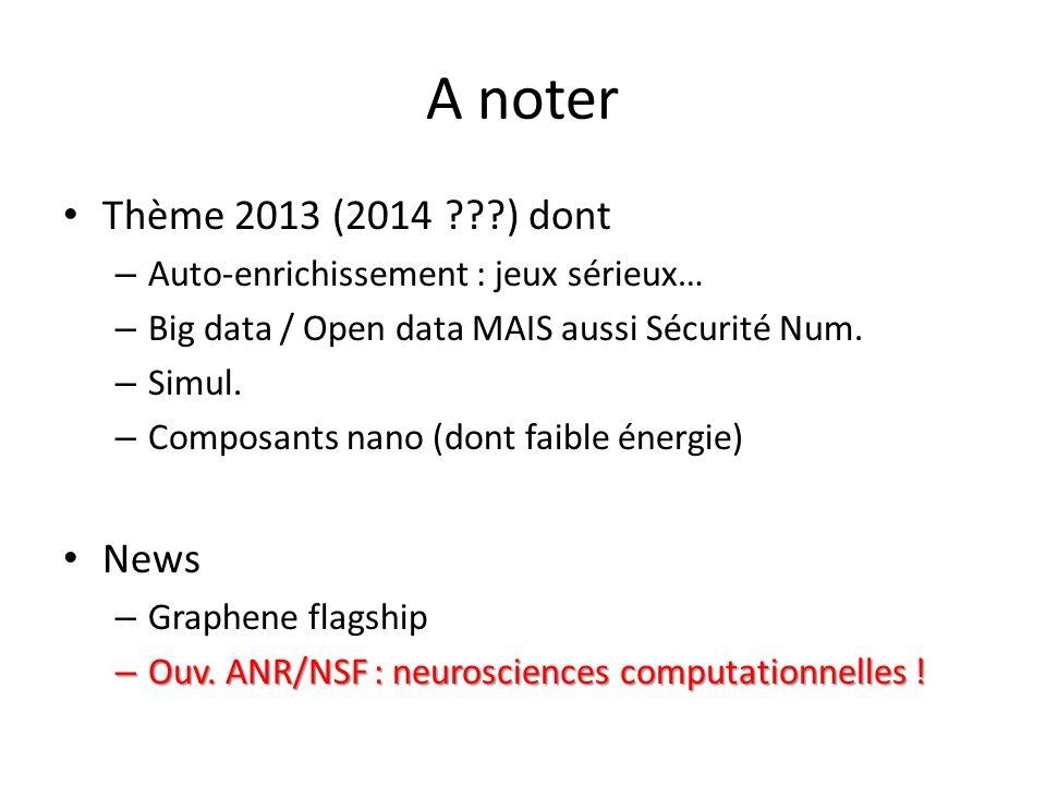 A noter Thème 2013 (2014 ???) dont – Auto-enrichissement : jeux sérieux… – Big data / Open data MAIS aussi Sécurité Num. – Simul. – Composants nano (d