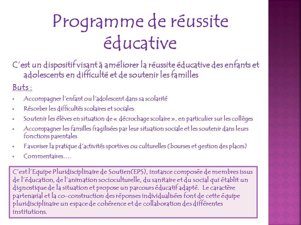 Programme de réussite éducative Cest un dispositif visant à améliorer la réussite éducative des enfants et adolescents en difficulté et de soutenir le