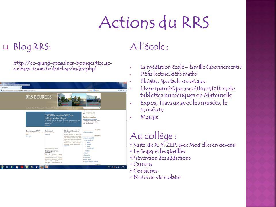 Actions du RRS A lécole : La médiation école – famille (abonnements) Défis lecture, défis maths Théatre, Spectacle smusicaux Livre numérique,expérimen