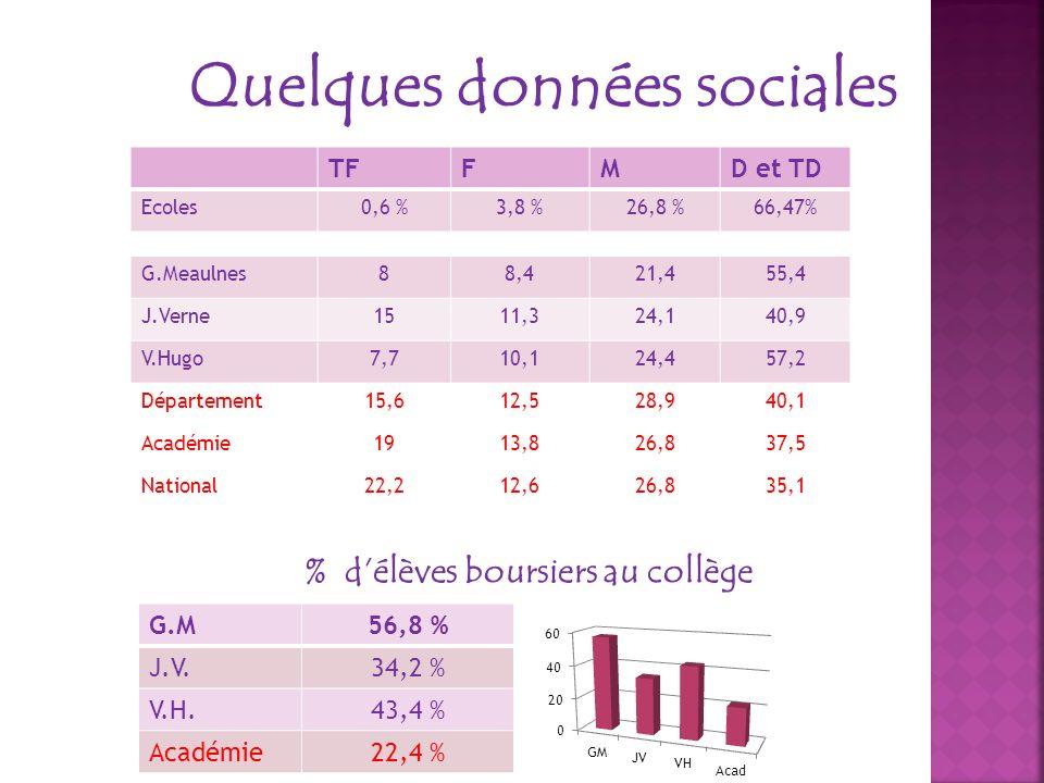Quelques données sociales TFFMD et TD Ecoles0,6 %3,8 %26,8 %66,47% G.Meaulnes88,421,455,4 J.Verne1511,324,140,9 V.Hugo7,710,124,457,2 Département15,61