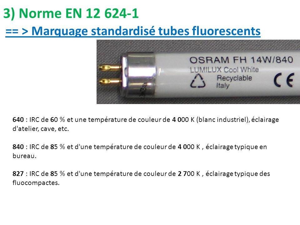 3) Norme EN 12 624-1 == > Marquage standardisé tubes fluorescents 640 : IRC de 60 % et une température de couleur de 4 000 K (blanc industriel), éclai