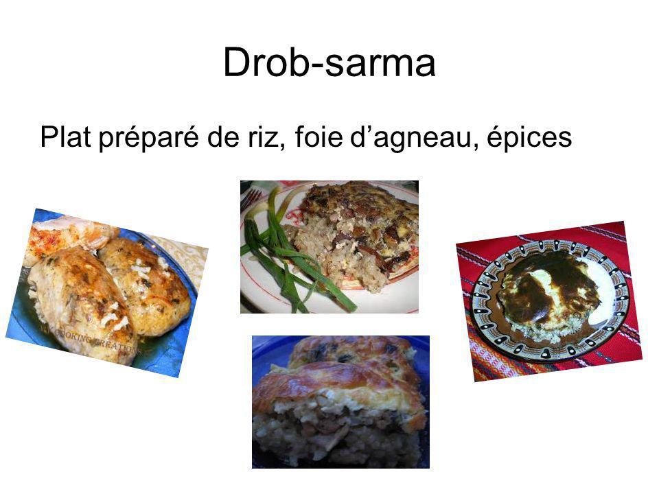 Drob-sarma Plat préparé de riz, foie dagneau, épices