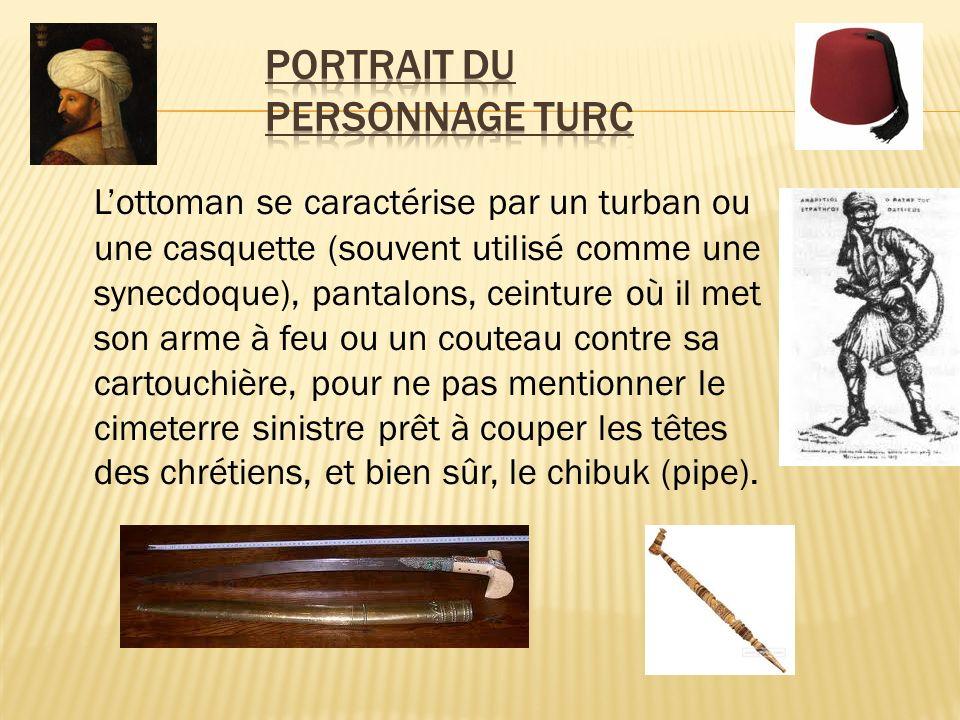 Lottoman se caractérise par un turban ou une casquette (souvent utilisé comme une synecdoque), pantalons, ceinture où il met son arme à feu ou un cout