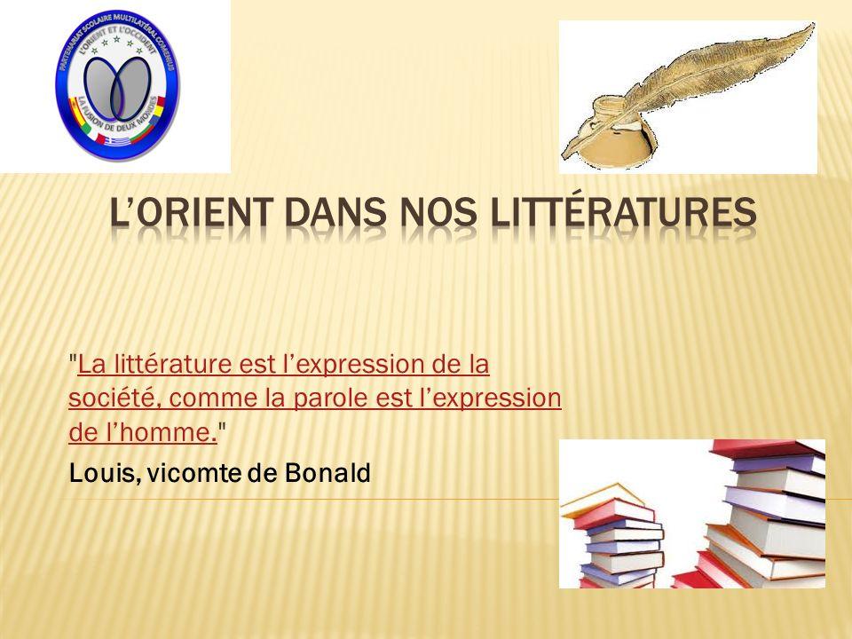 La littérature est lexpression de la société, comme la parole est lexpression de lhomme. La littérature est lexpression de la société, comme la parole est lexpression de lhomme.