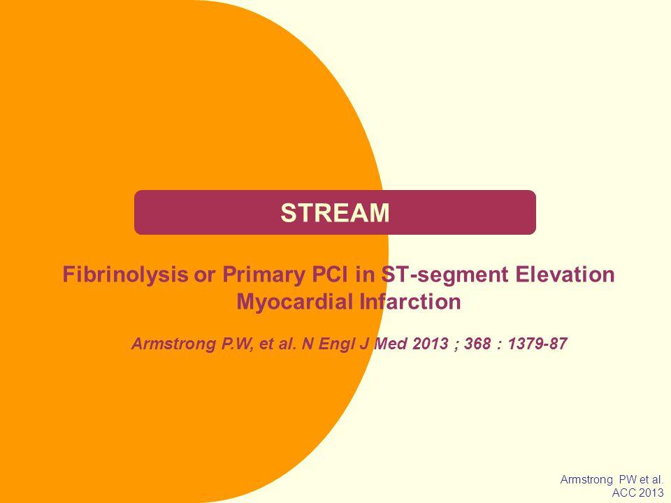 NOM Objectif Comparer la thrombolyse précoce (dans les 3 premières heures) par tenecteplase ± ATL dans un 2 ème temps si nécessaire (6–24h) avec lATL primaire demblée dans le syndrome coronaire aigu ST+ 2 mm dans deux dérivations contiguës dans les 3 premières heures des premiers symptômes, mais sans possibilité dATL primaire dans la première heure.