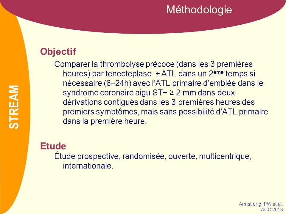 NOM Objectif Comparer la thrombolyse précoce (dans les 3 premières heures) par tenecteplase ± ATL dans un 2 ème temps si nécessaire (6–24h) avec lATL