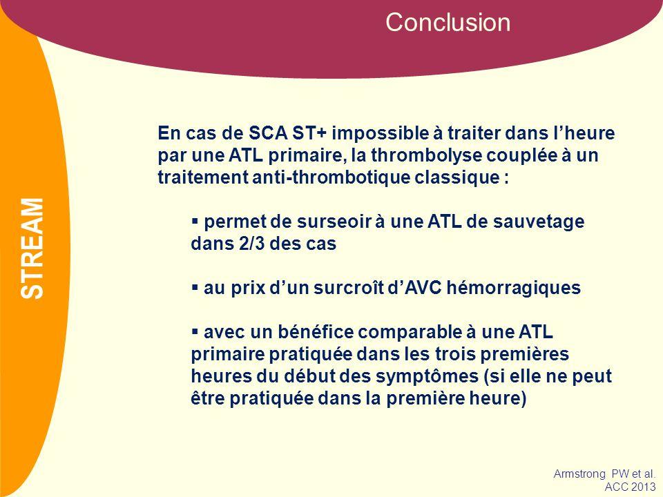 NOM Conclusion En cas de SCA ST+ impossible à traiter dans lheure par une ATL primaire, la thrombolyse couplée à un traitement anti-thrombotique class
