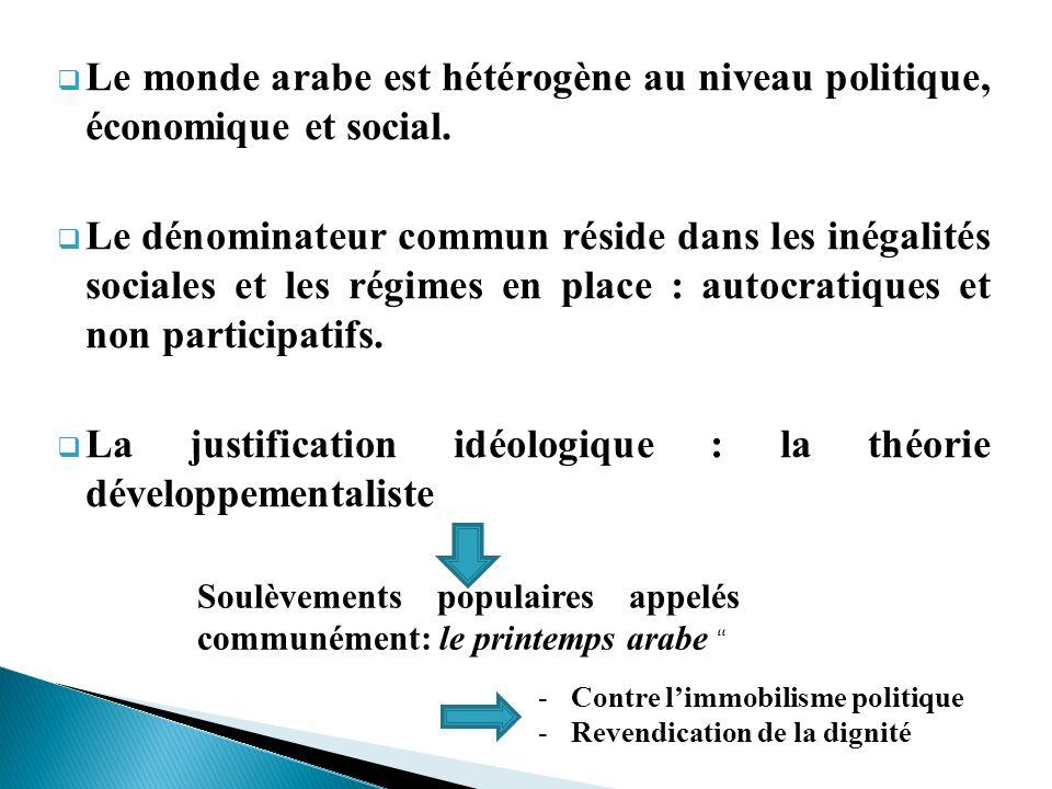 Le monde arabe est hétérogène au niveau politique, économique et social. Le dénominateur commun réside dans les inégalités sociales et les régimes en