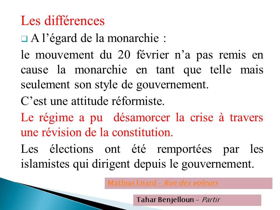 Les différences A légard de la monarchie : le mouvement du 20 février na pas remis en cause la monarchie en tant que telle mais seulement son style de