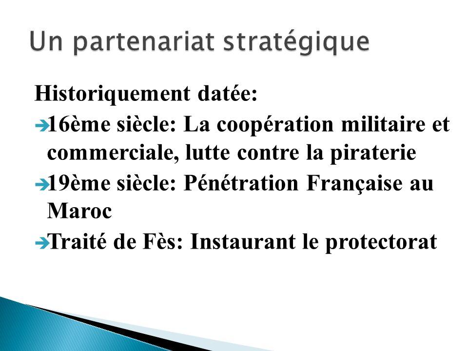 Historiquement datée: 16ème siècle: La coopération militaire et commerciale, lutte contre la piraterie 19ème siècle: Pénétration Française au Maroc Tr