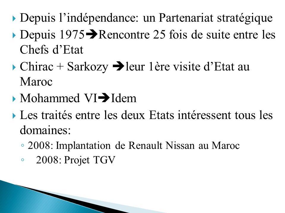 Depuis lindépendance: un Partenariat stratégique Depuis 1975 Rencontre 25 fois de suite entre les Chefs dEtat Chirac + Sarkozy leur 1ère visite dEtat
