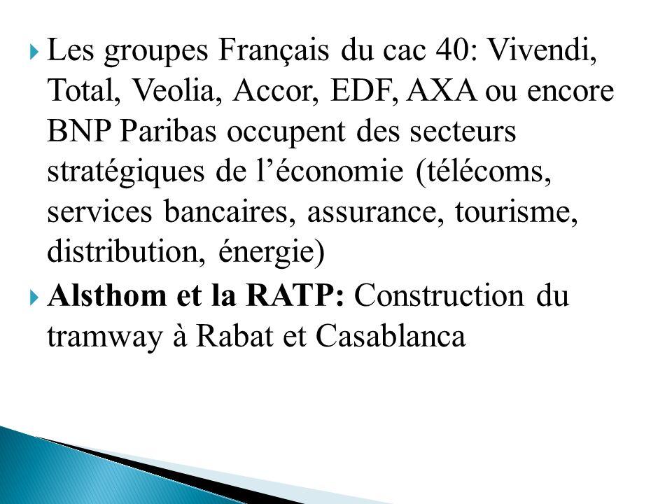 Les groupes Français du cac 40: Vivendi, Total, Veolia, Accor, EDF, AXA ou encore BNP Paribas occupent des secteurs stratégiques de léconomie (télécom
