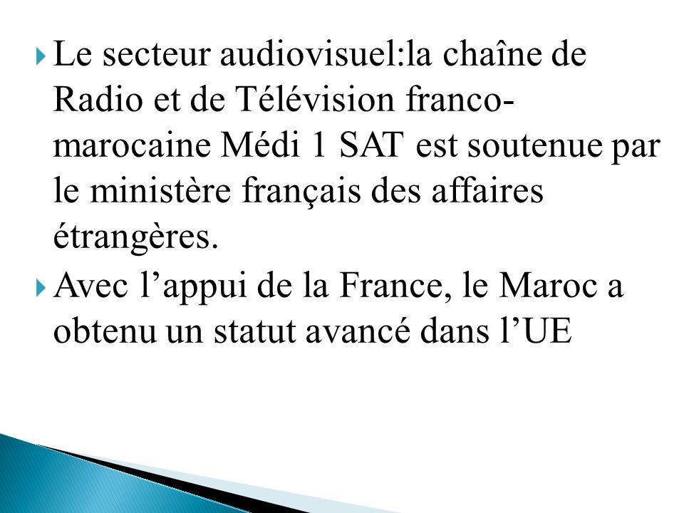 Le secteur audiovisuel:la chaîne de Radio et de Télévision franco- marocaine Médi 1 SAT est soutenue par le ministère français des affaires étrangères