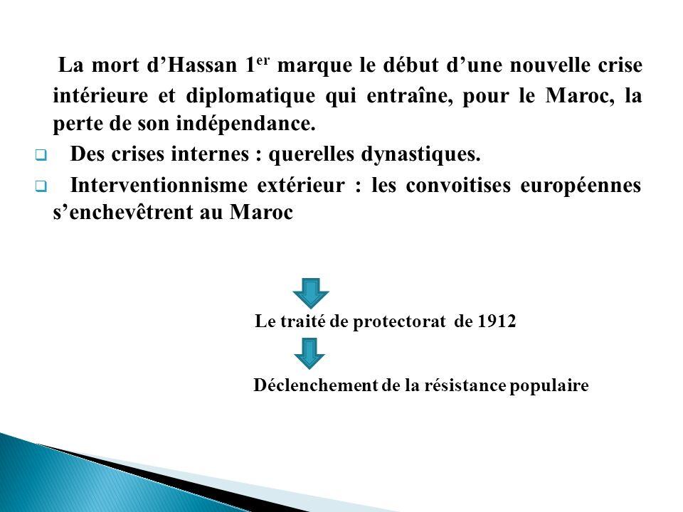 La mort dHassan 1 er marque le début dune nouvelle crise intérieure et diplomatique qui entraîne, pour le Maroc, la perte de son indépendance. Des cri