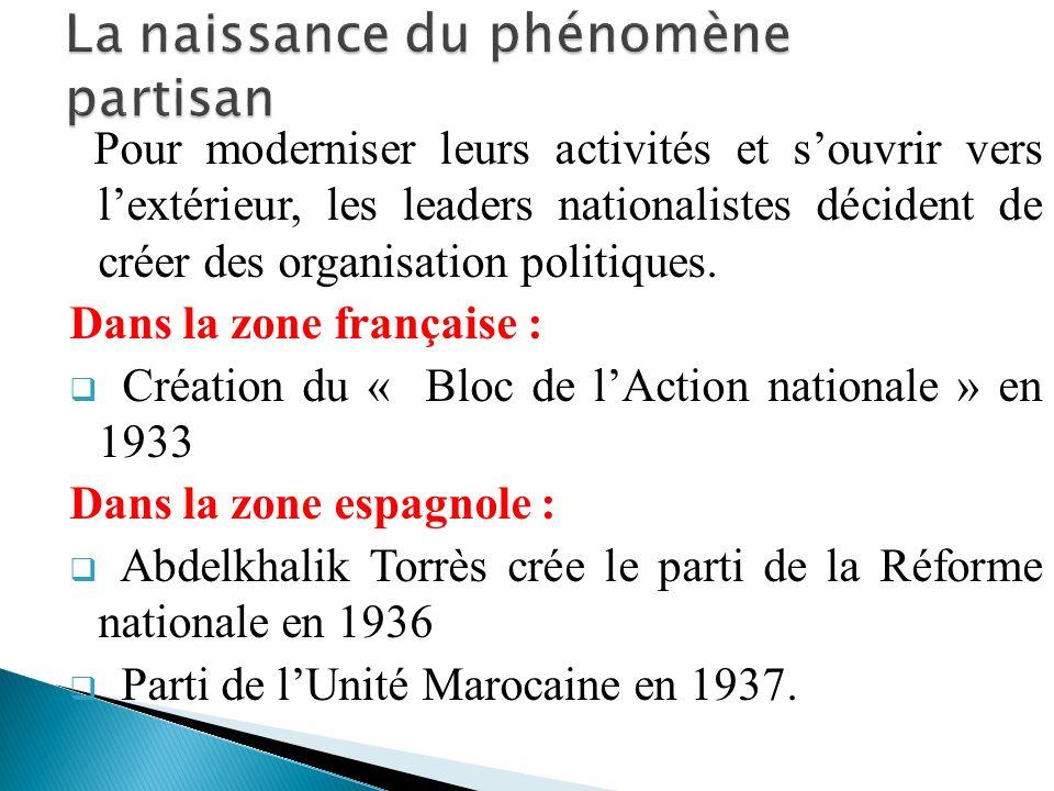 Pour moderniser leurs activités et souvrir vers lextérieur, les leaders nationalistes décident de créer des organisation politiques. Dans la zone fran