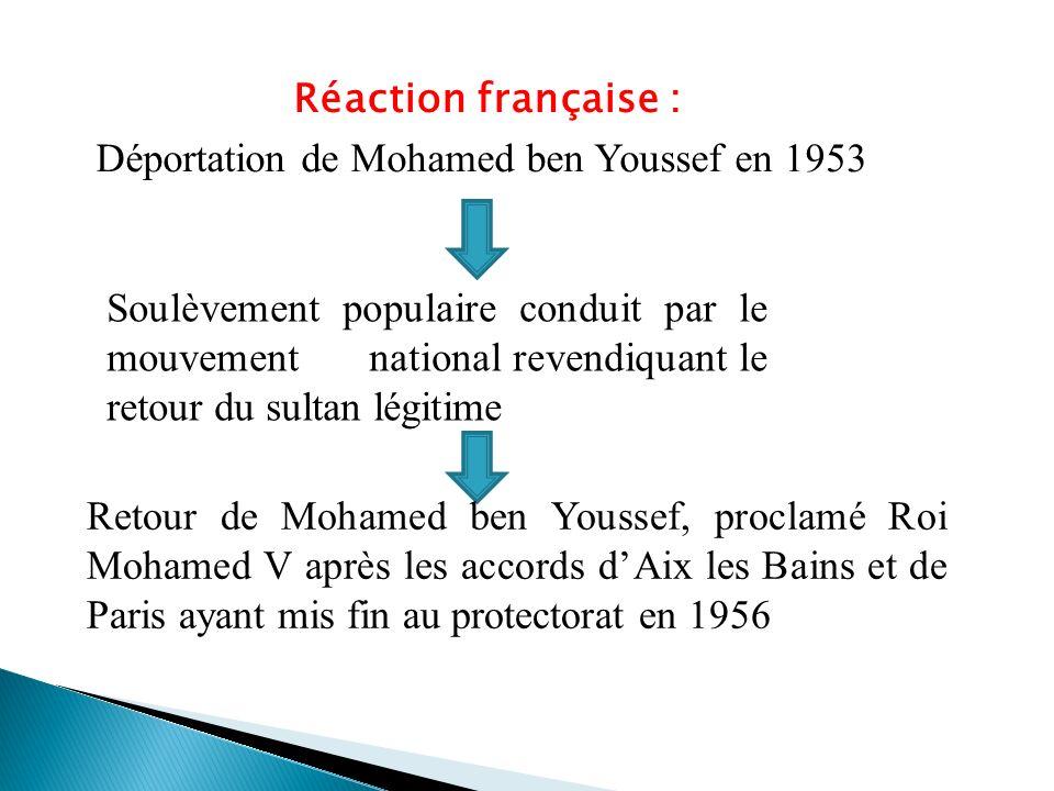 Réaction française : Déportation de Mohamed ben Youssef en 1953 Soulèvement populaire conduit par le mouvement national revendiquant le retour du sult