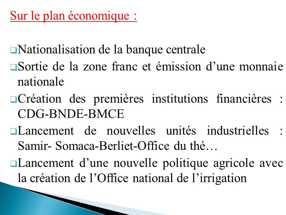 Sur le plan économique : Nationalisation de la banque centrale Sortie de la zone franc et émission dune monnaie nationale Création des premières insti