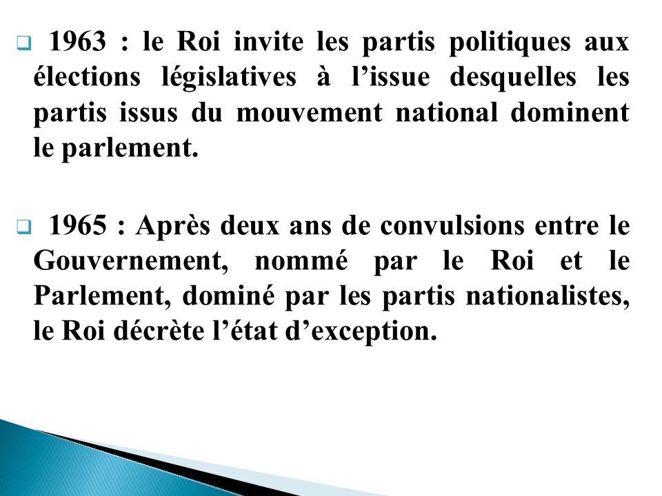 1963 : le Roi invite les partis politiques aux élections législatives à lissue desquelles les partis issus du mouvement national dominent le parlement