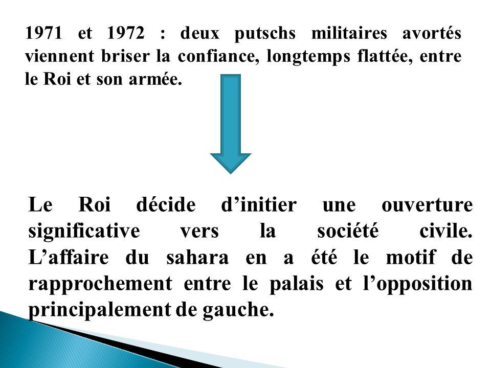 1971 et 1972 : deux putschs militaires avortés viennent briser la confiance, longtemps flattée, entre le Roi et son armée. Le Roi décide dinitier une