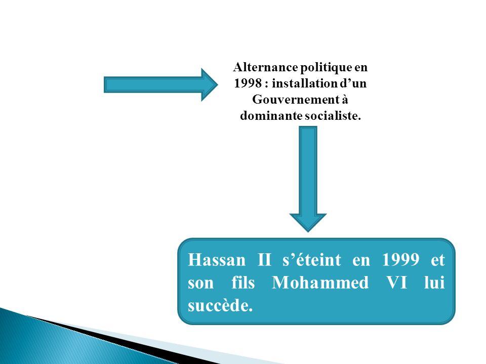 Alternance politique en 1998 : installation dun Gouvernement à dominante socialiste. Hassan II séteint en 1999 et son fils Mohammed VI lui succède.