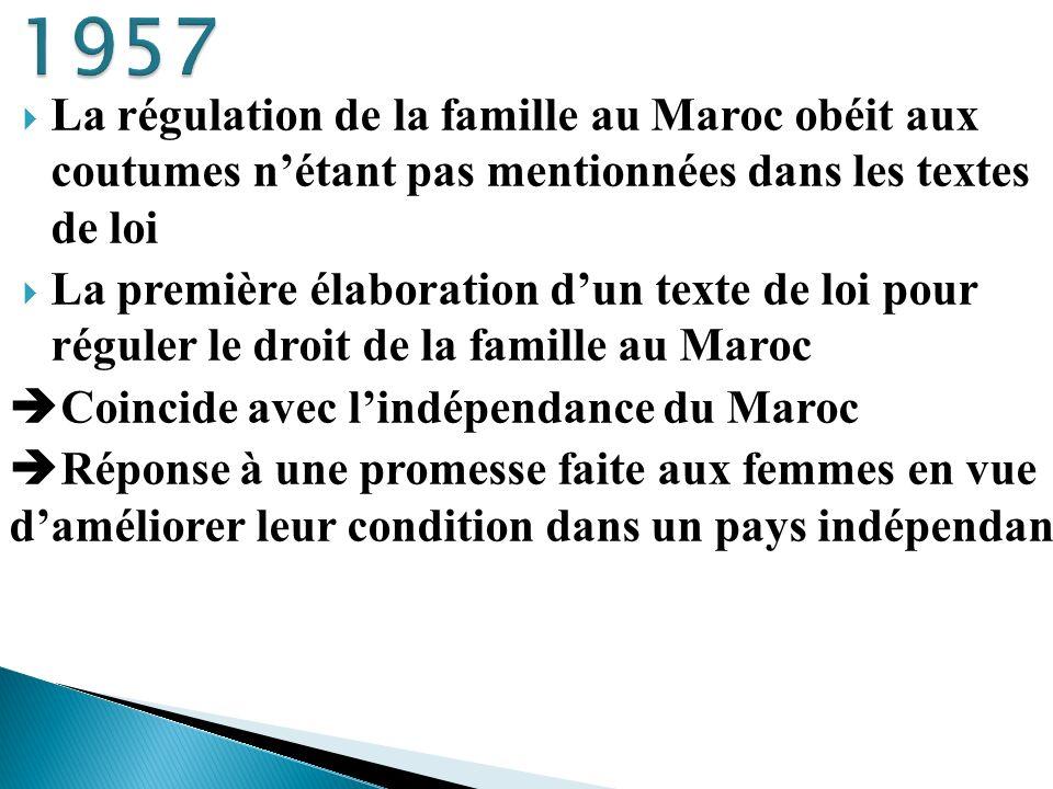 La régulation de la famille au Maroc obéit aux coutumes nétant pas mentionnées dans les textes de loi La première élaboration dun texte de loi pour ré