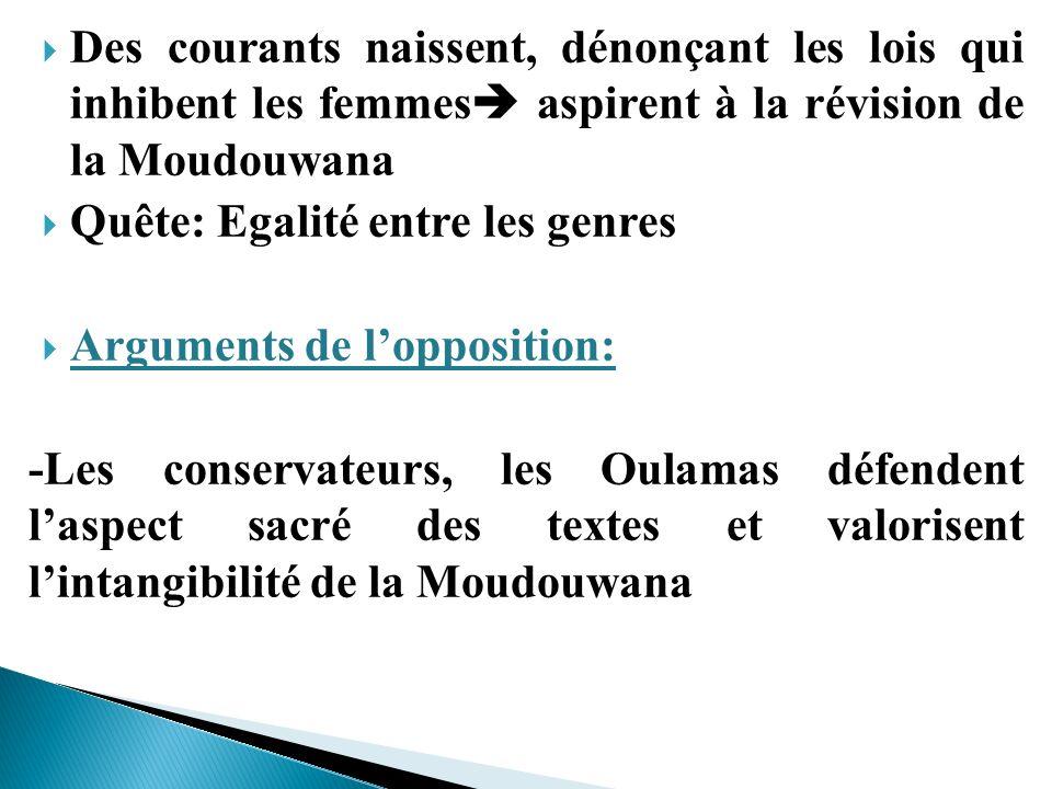Des courants naissent, dénonçant les lois qui inhibent les femmes aspirent à la révision de la Moudouwana Quête: Egalité entre les genres Arguments de