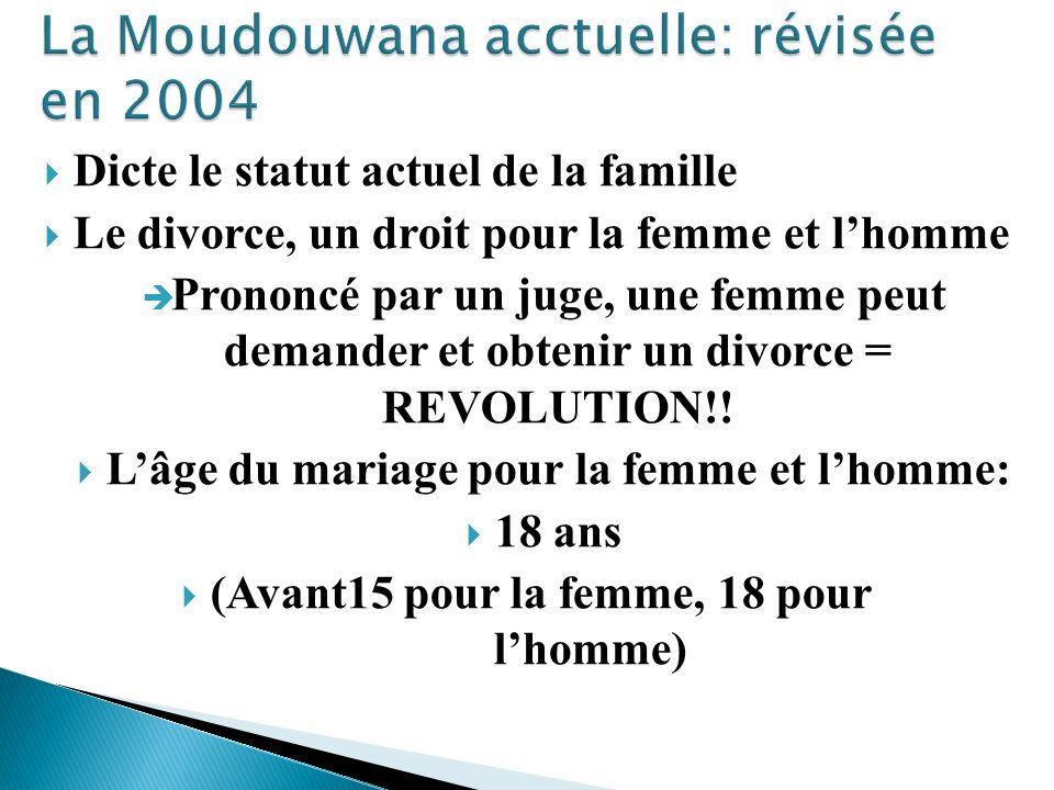 Dicte le statut actuel de la famille Le divorce, un droit pour la femme et lhomme Prononcé par un juge, une femme peut demander et obtenir un divorce
