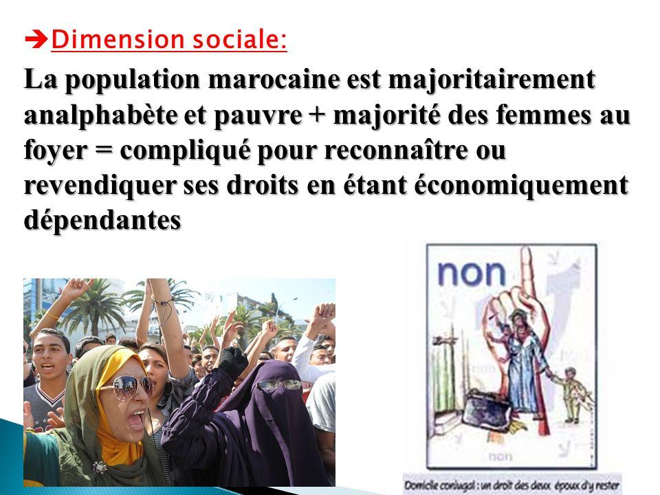 Dimension sociale: La population marocaine est majoritairement analphabète et pauvre + majorité des femmes au foyer = compliqué pour reconnaître ou re