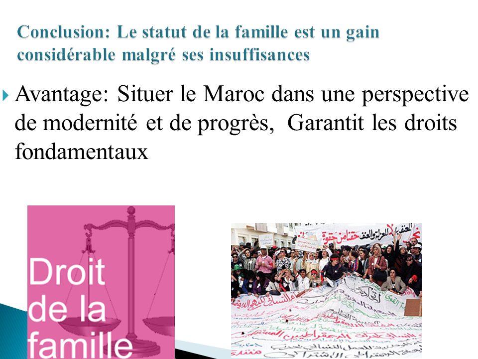 Avantage: Situer le Maroc dans une perspective de modernité et de progrès, Garantit les droits fondamentaux