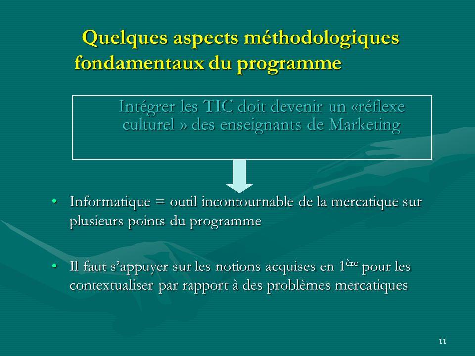 10 Quelques aspects méthodologiques fondamentaux du programme Le programme de mercatique de terminale sappuie fortement sur les connaissances acquises
