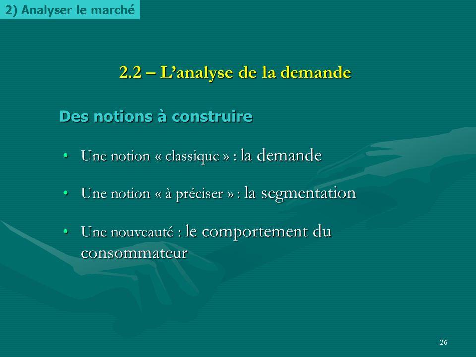 25 2.1 – Le marché et ses composantes Des notions à construire Des notions à construire ̶ Définition de la notion de marché ̶ Précision sur les compos