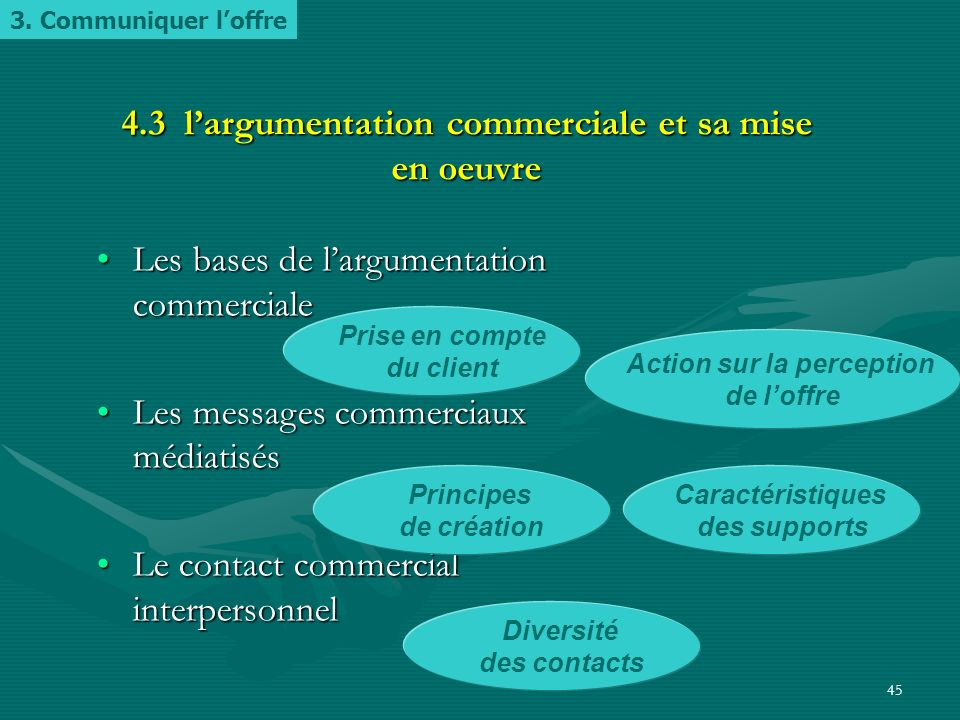 44 4.2 Les moyens de communication Communication de masseCommunication de masse Communication relationnelleCommunication relationnelle La diversité de