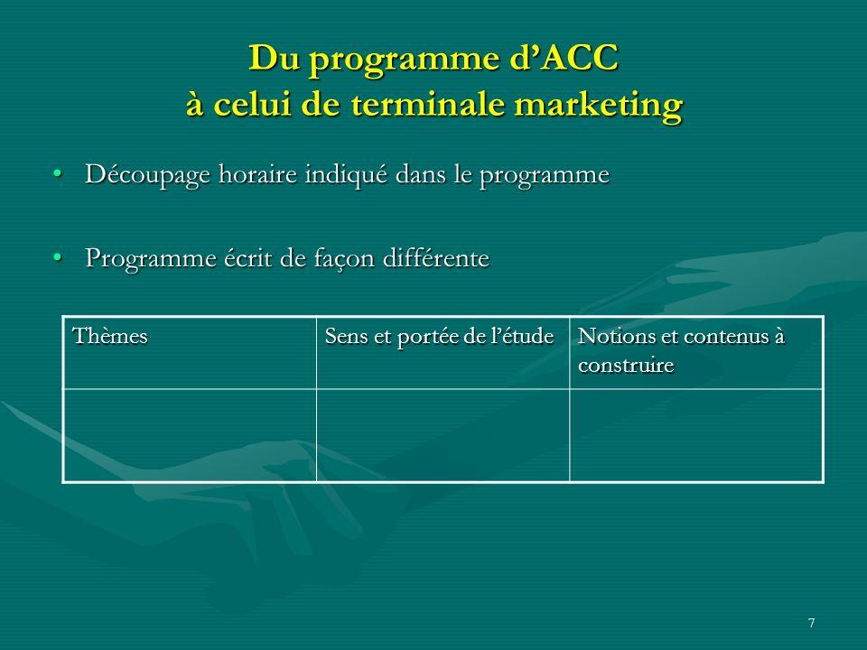 7 Du programme dACC à celui de terminale marketing Découpage horaire indiqué dans le programmeDécoupage horaire indiqué dans le programme Programme écrit de façon différenteProgramme écrit de façon différente Thèmes Sens et portée de létude Notions et contenus à construire