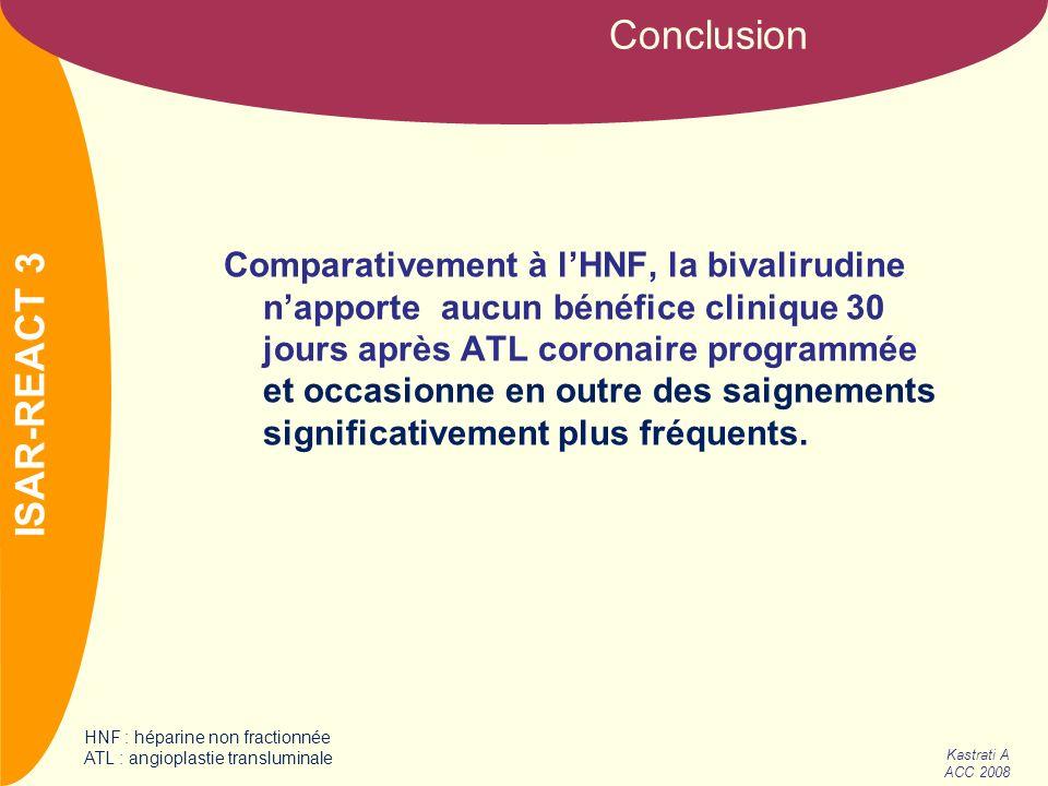 NOM Comparativement à lHNF, la bivalirudine napporte aucun bénéfice clinique 30 jours après ATL coronaire programmée et occasionne en outre des saigne