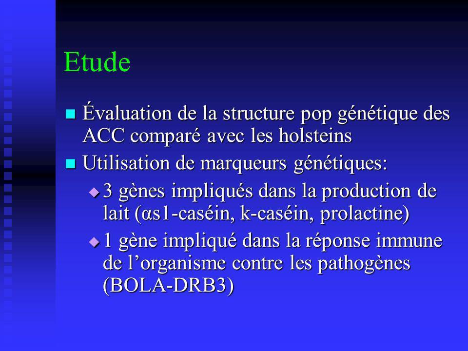 Etude Évaluation de la structure pop génétique des ACC comparé avec les holsteins Évaluation de la structure pop génétique des ACC comparé avec les holsteins Utilisation de marqueurs génétiques: Utilisation de marqueurs génétiques: 3 gènes impliqués dans la production de lait (αs1-caséin, k-caséin, prolactine) 3 gènes impliqués dans la production de lait (αs1-caséin, k-caséin, prolactine) 1 gène impliqué dans la réponse immune de lorganisme contre les pathogènes (BOLA-DRB3) 1 gène impliqué dans la réponse immune de lorganisme contre les pathogènes (BOLA-DRB3)
