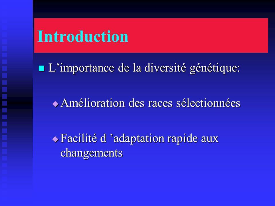 Introduction Limportance de la diversité génétique: Limportance de la diversité génétique: Amélioration des races sélectionnées Amélioration des races sélectionnées Facilité d adaptation rapide aux changements Facilité d adaptation rapide aux changements