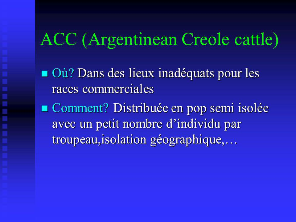 ACC (Argentinean Creole cattle) Où? Dans des lieux inadéquats pour les races commerciales Où? Dans des lieux inadéquats pour les races commerciales Co