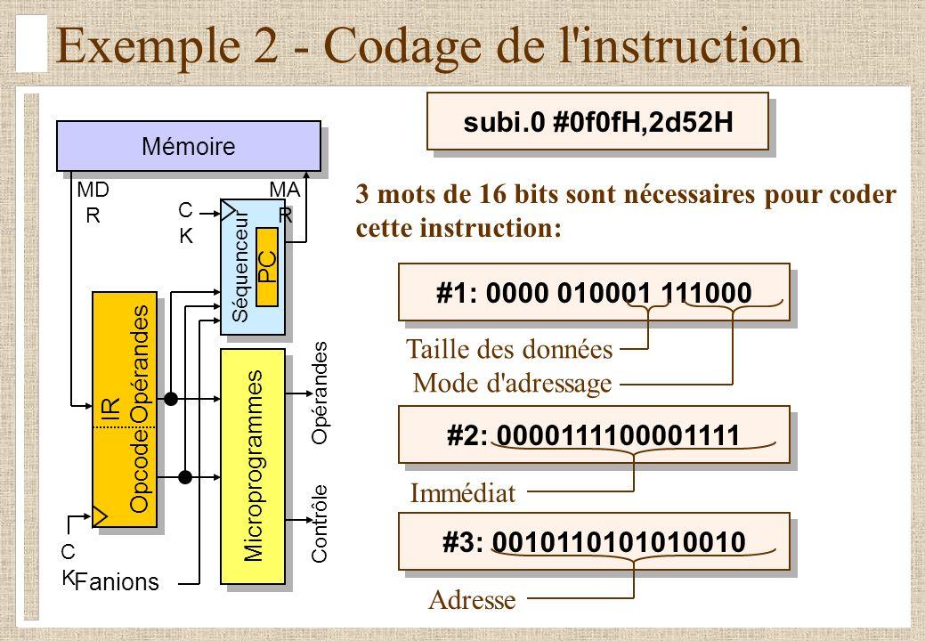 subi.0 #0f0fH,2d52H Exemple 2 - Codage de l instruction Mémoire Séquenceur CKCK IR Opcode Opérandes IR Opcode Opérandes Fanions Microprogrammes Contrôle Opérandes MD R MA R CKCK PC 3 mots de 16 bits sont nécessaires pour coder cette instruction: #1: 0000 010001 111000 Taille des données Mode d adressage #2: 0000111100001111 Immédiat #3: 0010110101010010 Adresse